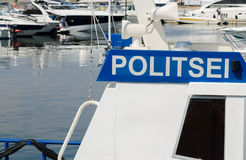 Police boat on a background of yachts Stock Photography