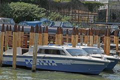 Police boat moored at the port police station Royalty Free Stock Images