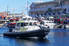 Police boat on patrol on the water Royalty Free Stock Photo