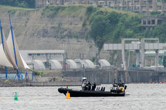 Police boat patrols Cardiff Bay before Champions League final Royalty Free Stock Photography