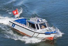 Police boat on Rhine in Basel Royalty Free Stock Images
