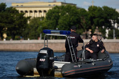 Police boat on the river Neva in St. Petersburg Royalty Free Stock Photography