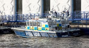 Police boat on the River Thames, London England. London, United Kingdom - Ferbuari 21, 2019. Police boat on the River Thames, London England royalty free stock photo