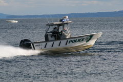 Police Boat on Water 2 Stock Images