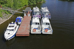 Police boats. Water police boats at the dock Stock Image