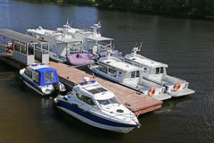 Police boats. Water police boats at the dock Stock Photo