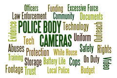 Police Body Cameras. Word cloud on white background Royalty Free Stock Image