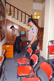 Police bom squad. The police bomb squad sterilization of the church ahead of Christmas celebrations in the city of Solo, Central Java, Indonesia Royalty Free Stock Photo