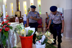 Police bom squad. The police bomb squad sterilization of the church ahead of Christmas celebrations in the city of Solo, Central Java, Indonesia Royalty Free Stock Image
