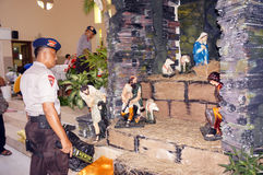 Police bom squad. The police bomb squad sterilization of the church ahead of Christmas celebrations in the city of Solo, Central Java, Indonesia Royalty Free Stock Photos