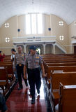 Police bom squad. The police bomb squad sterilization of the church ahead of Christmas celebrations in the city of Solo, Central Java, Indonesia Stock Image