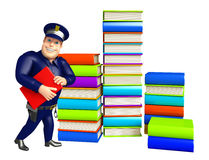 Police with Book stack & book. 3d rendered illustration of Police with Book stack Royalty Free Stock Images