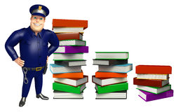 Police with Book stack. 3d rendered illustration of Police with Book stack Stock Photography