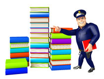 Police with Book stack. 3d rendered illustration of Police with Book stack Royalty Free Stock Photo