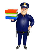 Police with Book stack. 3d rendered illustration of Police with Book stack Royalty Free Stock Photography