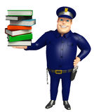 Police with Book stack. 3d rendered illustration of Police with Book stack Royalty Free Stock Image