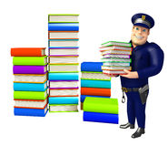 Police with Book stack. 3d rendered illustration of Police with Book stack Stock Image