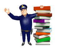 Police with Book stack. 3d rendered illustration of Police with Book stack Royalty Free Stock Photos