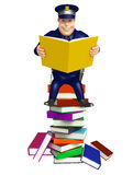 Police with Book stack. 3d rendered illustration of Police with Book stack Stock Images