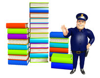 Police with Book stack. 3d rendered illustration of Police with Book stack Royalty Free Stock Images