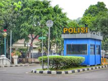 Police Booth. Stands in the middle of the street in Jakarta Stock Photography