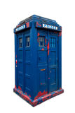Police box. Old dilapidated police box,  on white. Clipping path included Royalty Free Stock Photo