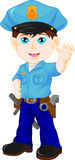 Police boy waving Royalty Free Stock Photography