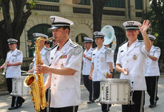 Police brass orchestra in Hanoi Royalty Free Stock Photo