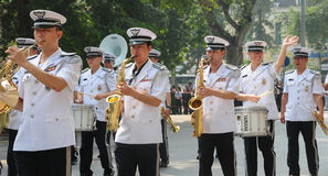 Police brass orchestra in Hanoi Royalty Free Stock Photography