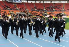 A police brass orchestra  in Moscow Royalty Free Stock Image