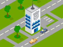 Police building car isometric vector Royalty Free Stock Images