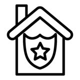 Police building line icon. Police department illustration isolated on white. Police station outline style design Royalty Free Stock Photography