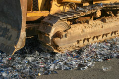 Police bulldozer fakes destruction Stock Image