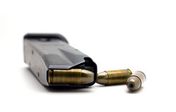 Police Bullets 9mm magazine. On white Royalty Free Stock Photo