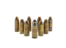Police Bullets 9mm. Police Bullets 9 mm on white background Royalty Free Stock Photography