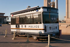 Police bus on Tiananmen Square. Beijing. China Stock Images