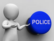 Police Button Means Law Enforcement Or Officer Royalty Free Stock Images