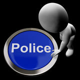 Police Button Shows Law Enforcement Royalty Free Stock Images