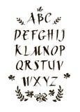Police calligraphique d'encre manuscrite Lettrage moderne de brosse Alphabet tiré par la main Fleurs peintes à la main abstraites Photo stock