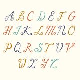 Police calligraphique tirée par la main Alphabet manuscrit de typographie de main de style de brosse pour des logos de conception Image libre de droits