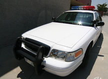 Police on campus. Front angle of modern police car on campus stock photo