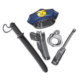Police cap, baton, handcuffs, walkie-talkie. Police caps and other ammunition. Vector Image Royalty Free Stock Photo