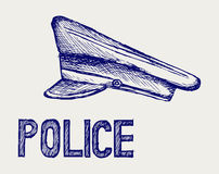 Police cap. Doodle style Royalty Free Stock Images