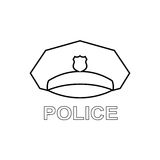 Police cap outline icon. Serviceman's hat symbol. Linear  Stock Images