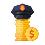 Police cap on stack of coins Stock Photo