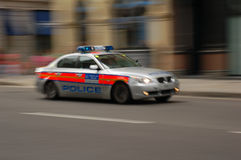 Police car. Fast moving police car in london, uk Royalty Free Stock Photo