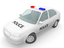 Police car. In white. Security concept. 3d Illustration Royalty Free Stock Photography