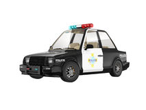 Police car. 3d police car isolated on white Royalty Free Stock Photos