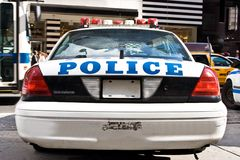 Police car. The rear of a parked New York City Police car Royalty Free Stock Photos