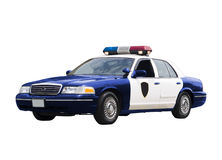 Police Car. A police car isolated on a white background Stock Photos